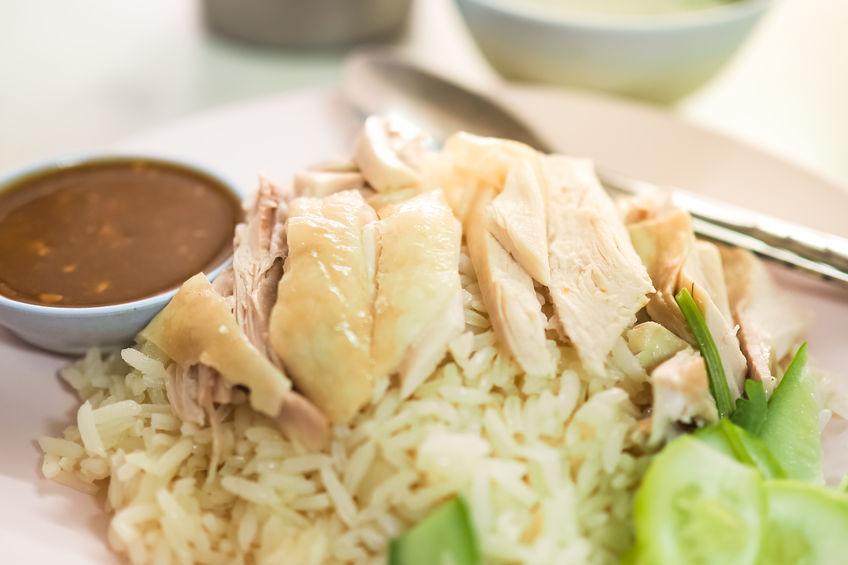 Hainanese chicken rice. Thai Food - Khao Man Gai